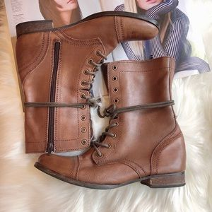 Steven Troopa Brown Leather Combat Boots 10